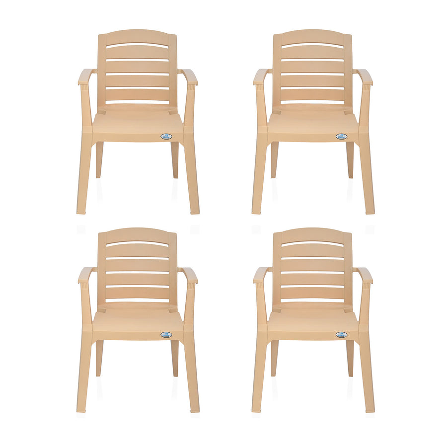 Nilkamal Passion Garden Chair Set of 4 (Biscuit)