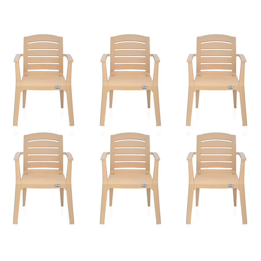 Nilkamal Passion Garden Chair Set of 6 (Biscuit)