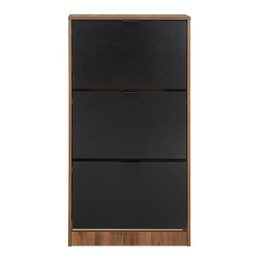 Florine 3 Tier Shoe Cabinet (Walnut)