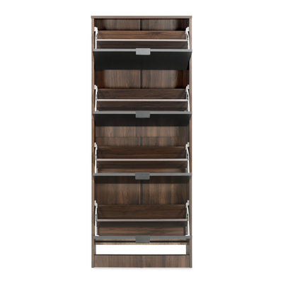 Florine 4 Tier Shoe Cabinet (Walnut)