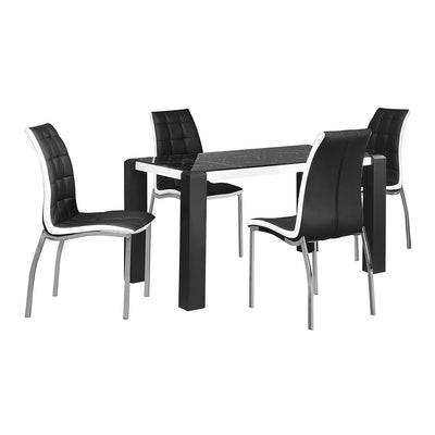 Fortica Four Seater Dining Set (Black &White Marble)
