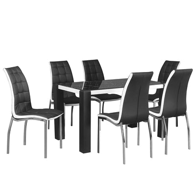 Fortica Six Seater Dining Set (Black &White Marble)