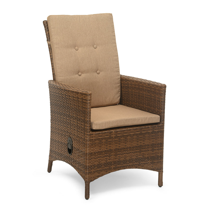 Futura Cane Garden Chair with Manual Recliner (Brown)