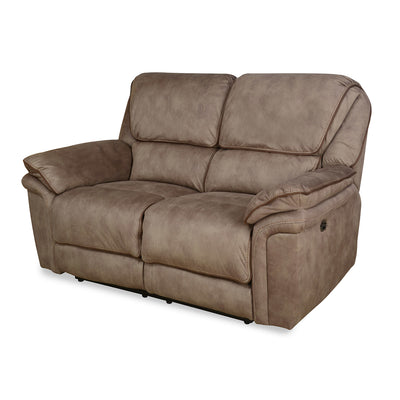 Fuzzy 2 Seater Sofa with 2 Electric Recliner (Mocha Brown)