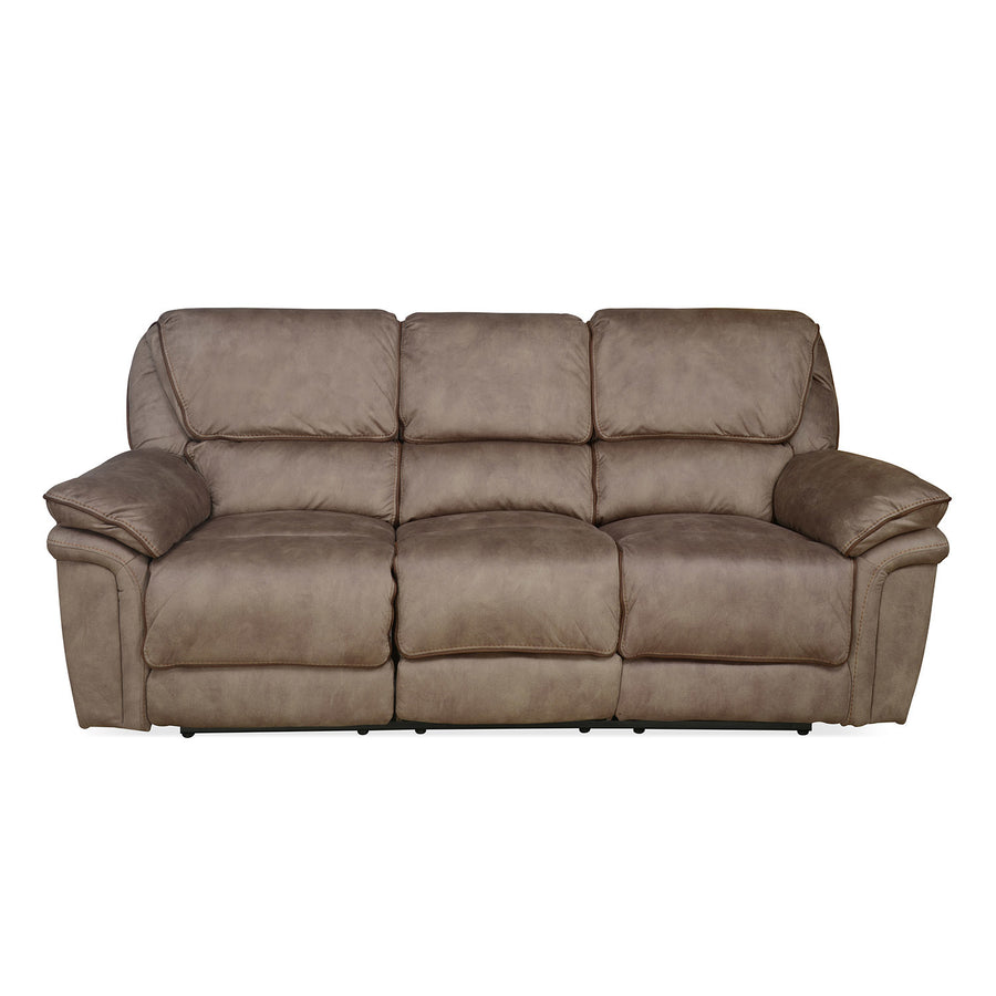 Fuzzy 3 Seater Sofa with 2 Electric Recliner (Mocha Brown)