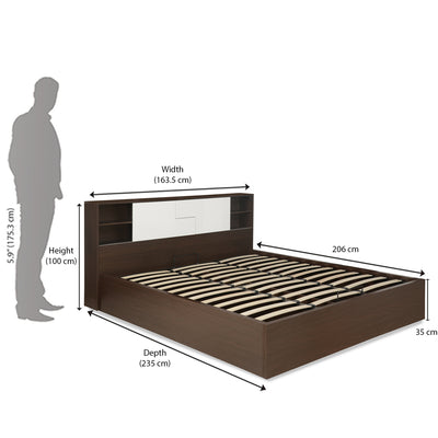 Guardian Queen Bed With Storage (Walnut and White)