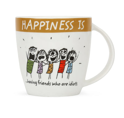Hap 320 ml Coffe Mug Having Friends (Brown)