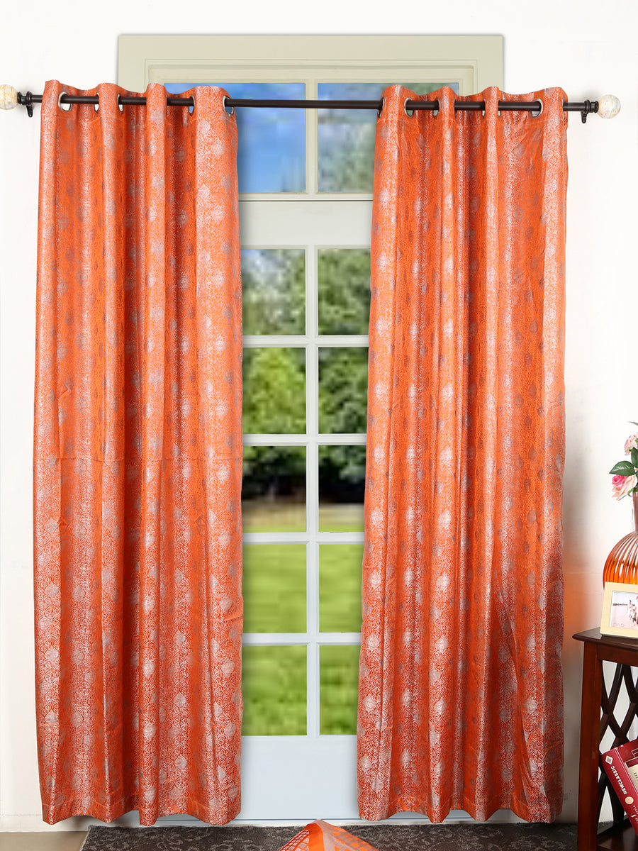Jharokha 112 cm x 213 cm Door Curtain (Orange & Grey)