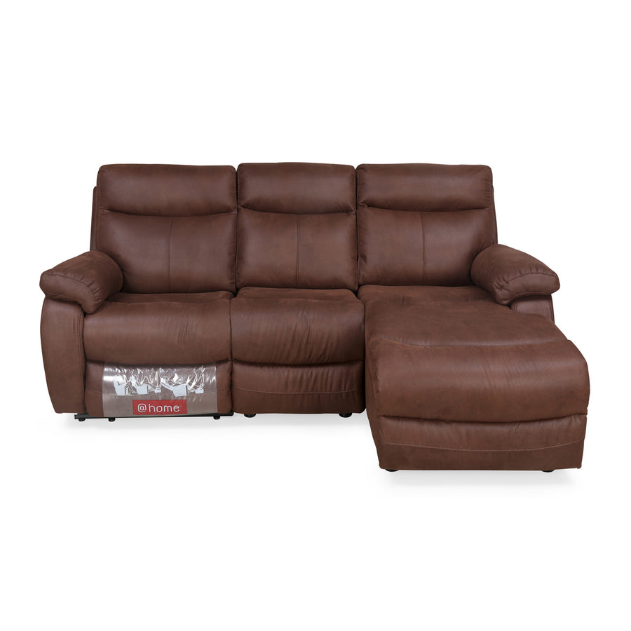 Hipster 2 Seater Lounger Sofa with 1 Manual Recliner (Chocolate)
