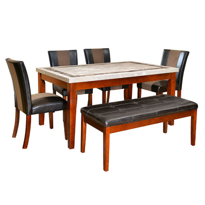Jenn Six Seater Dining Set With Bench (Beige With Walnut)