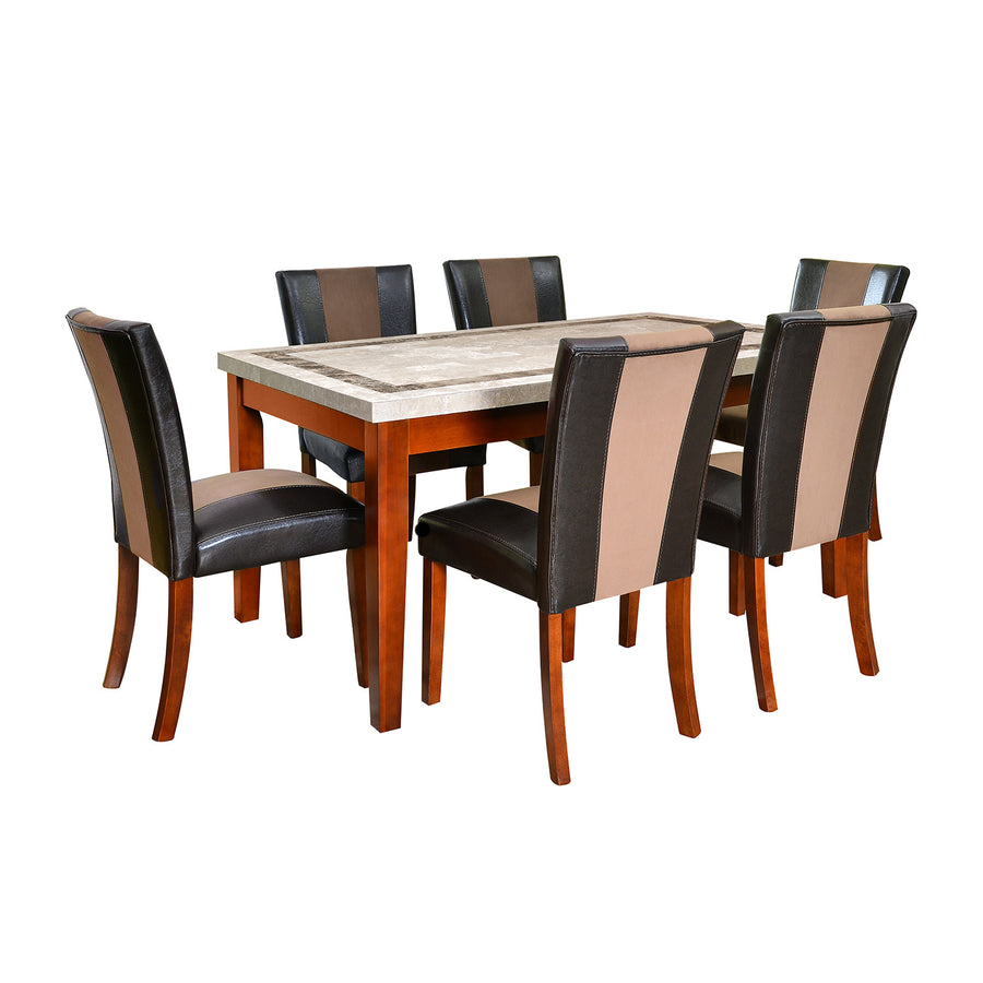 Jenn Six Seater Dining Set (Beige With Walnut)