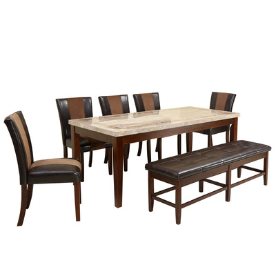 Jenn Eight Seater Dining Set With Bench (Beige & Walnut)