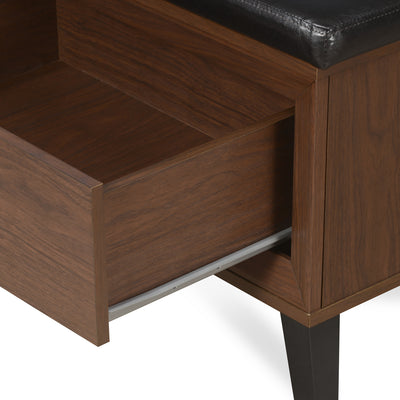 Jovy Shoe Bench With Drawer (Walnut)