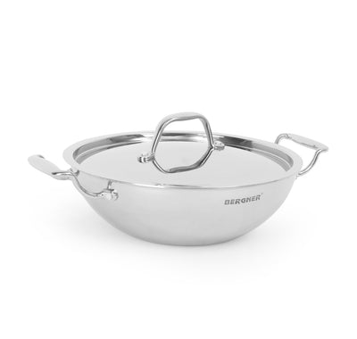 Bergner Triply Stainless Steel 24 cm Kadai with Lid (Silver)