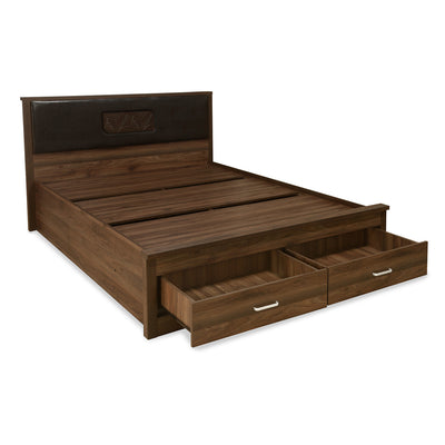 Leaf Queen Bed With Drawer Storage (Wenge)