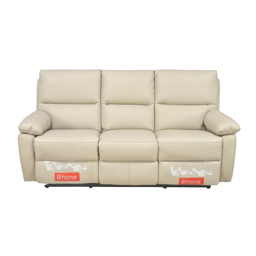 Leslie 3 Seater Sofa Manual Recliner (Cream)