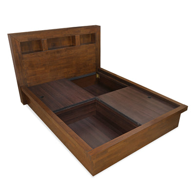 Lincoln Queen Bed With Box Storage (Walnut)