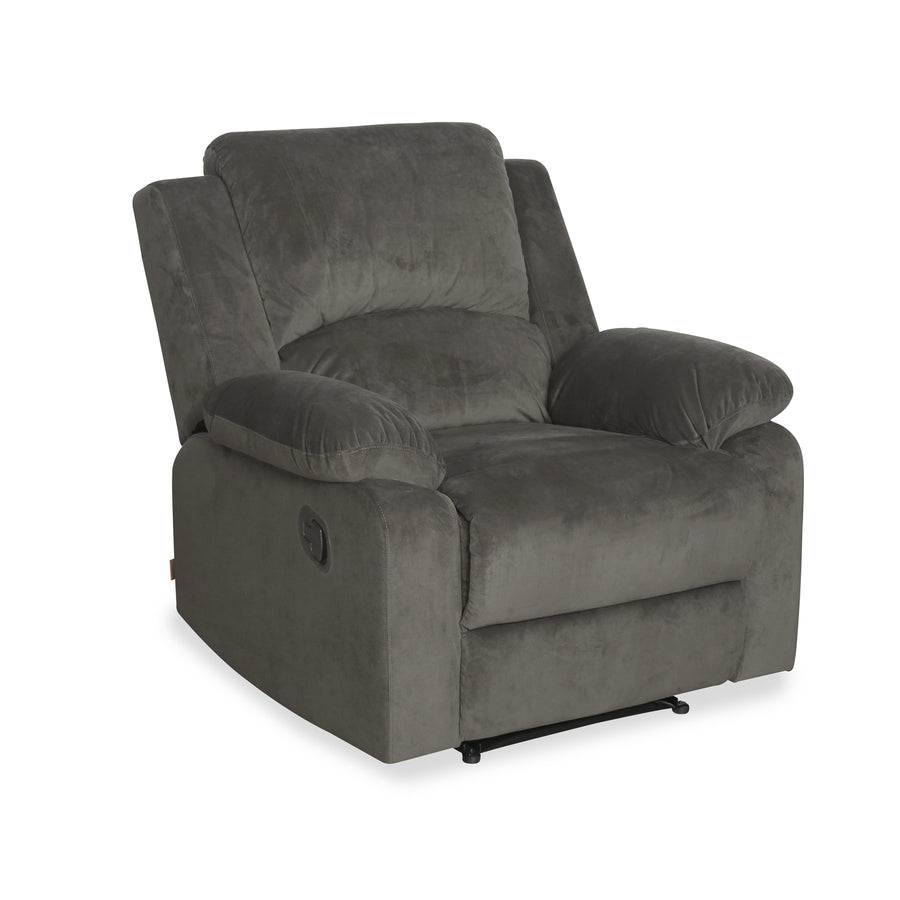 Luxury 1 Seater Sofa with 1 Manual Recliner (Coffee Brown)
