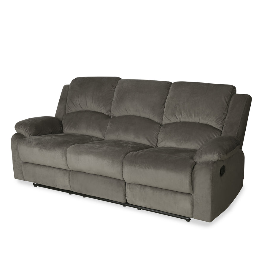 Luxury 3 Seater Sofa with 2 Manual Recliners (Coffee Brown)