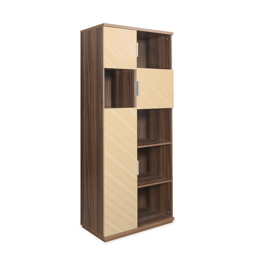 Maestro Storage Cabinet (Walnut with Sand Beige)
