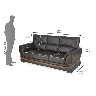 Markos Three Seater Sofa (Dark Brown)