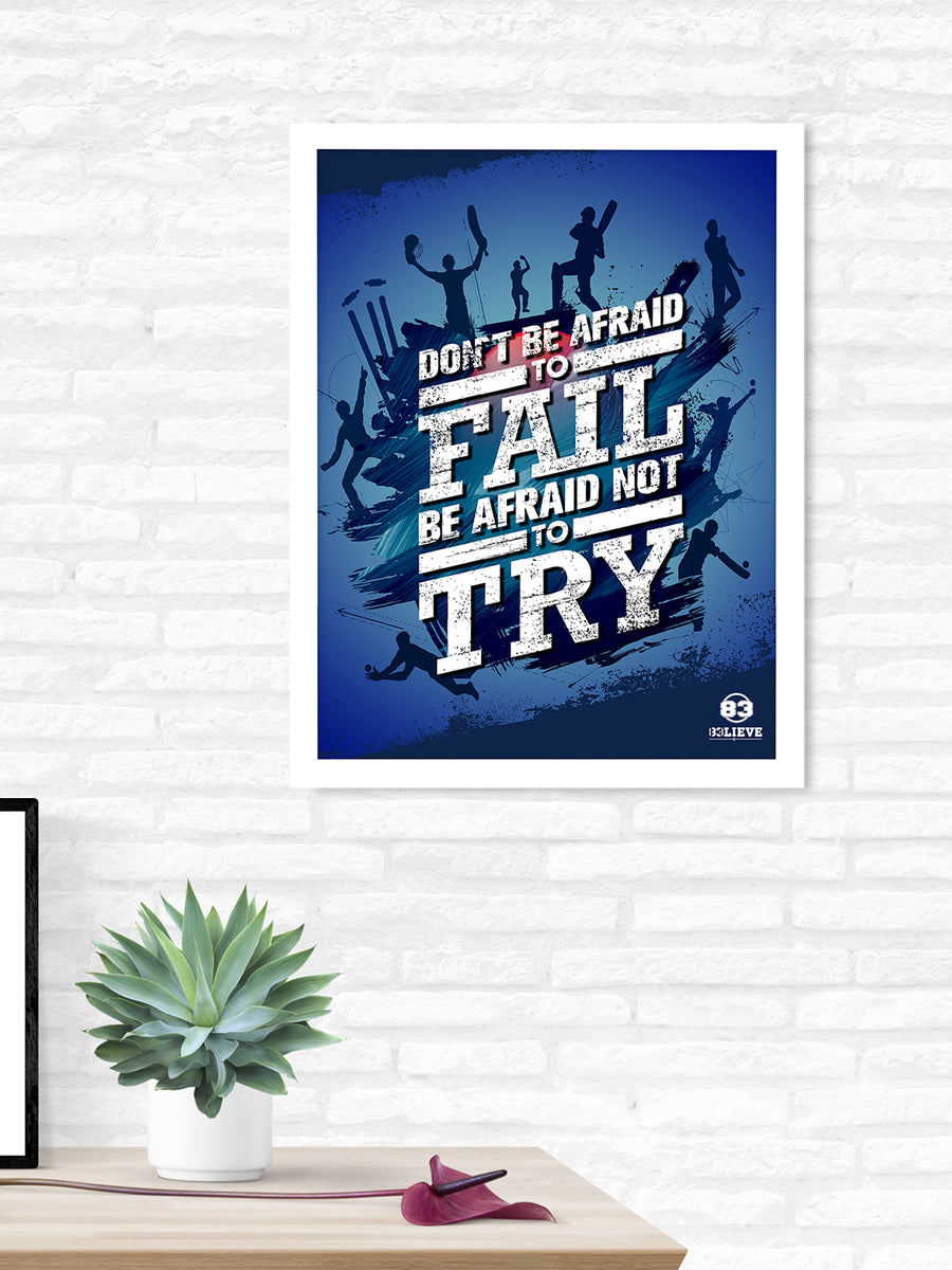 """83"" Try & Fail Printed 40 cm x 60 cm Painting (Blue)"