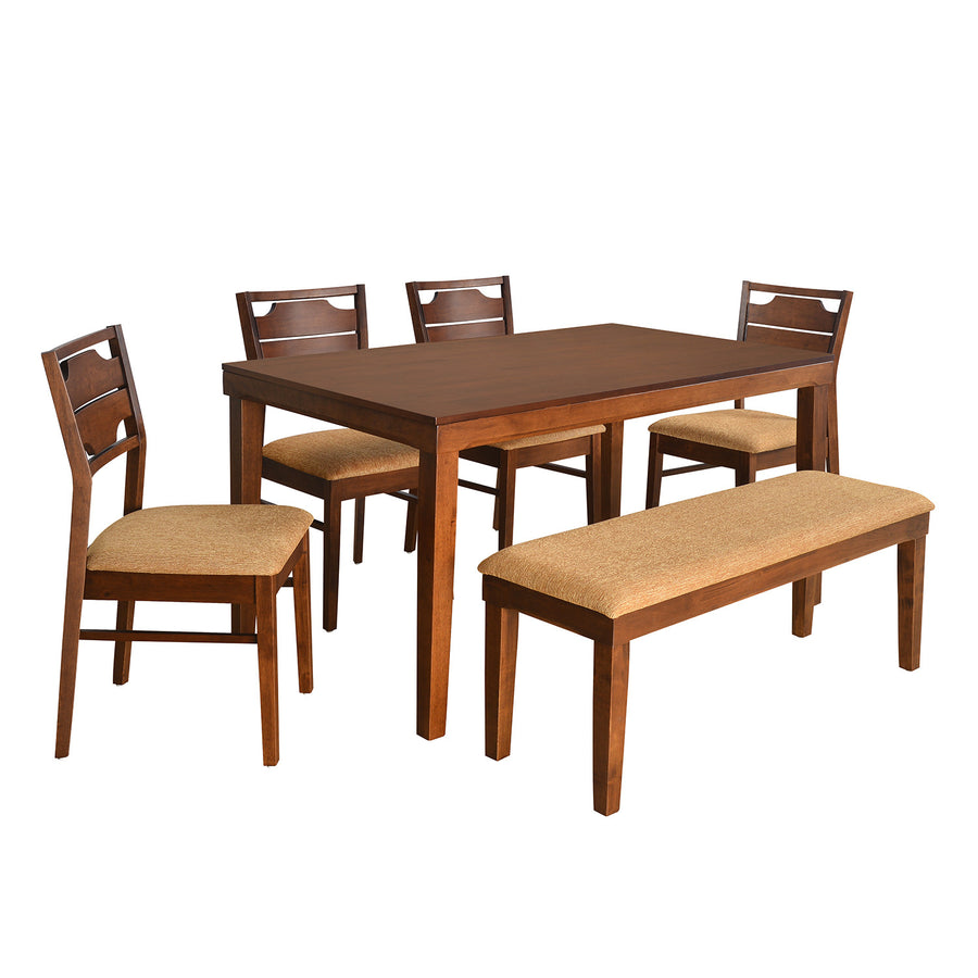 Olenna Six Seater Dining Set With Bench (Walnut)