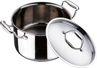 Bergner triply pot cook n serve 20cm with lid ss  6334  (Silver)