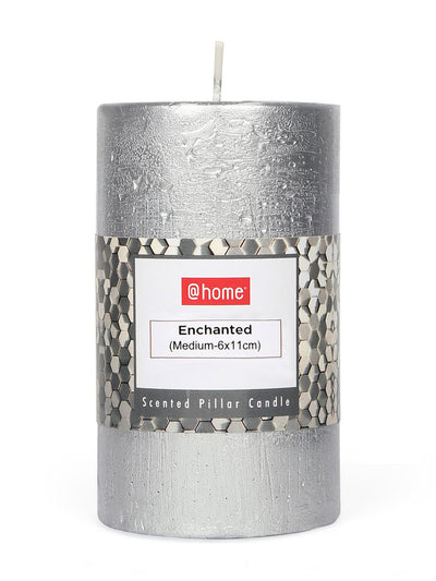 Enchanted Medium Pillar Candles Set (Silver)
