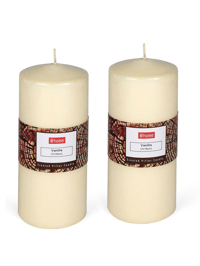 Vanilla Large Pillar Candles Set (Ivory)