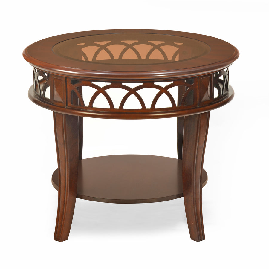 Pisces Side Table With Glass Top (Classic Walnut)