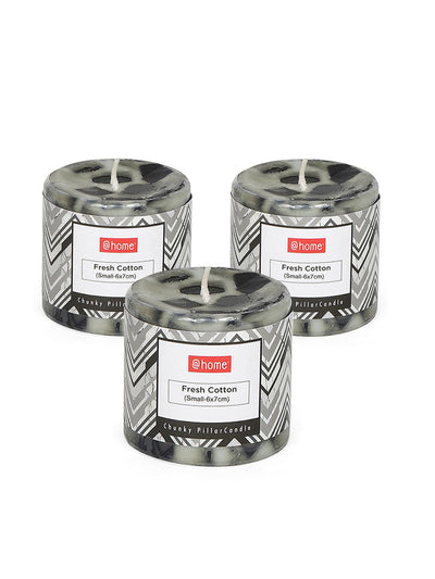 Chunk Fresh Cotton Pillar 3 Pieces Small Candles (Black & White)
