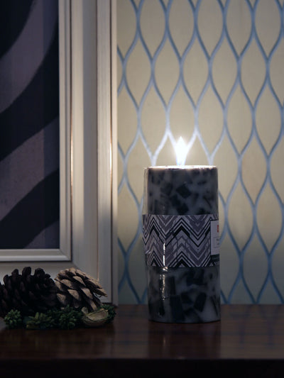 Chunk Fresh Cotton Pillar Large Candles Set (Black & White)