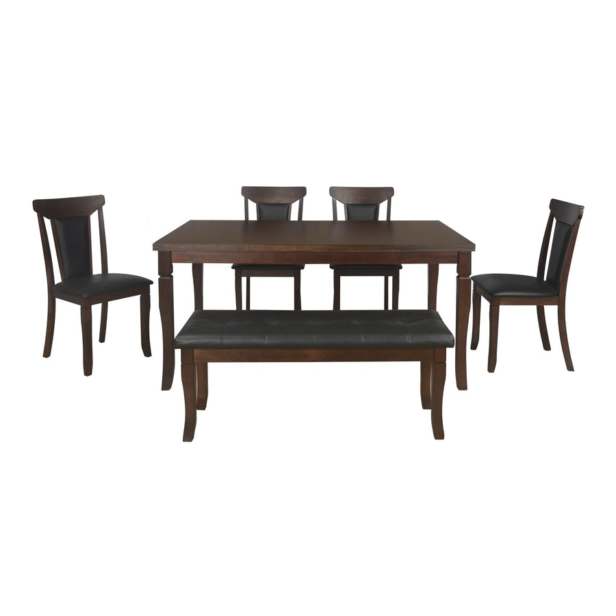Polita Six Seater Dining Set With Bench (Espresso)