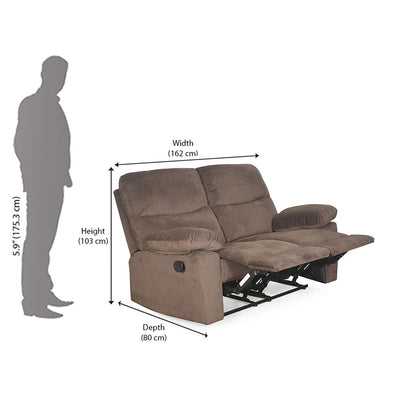 Rays 2 Seater with Manual Recliner ( brown)