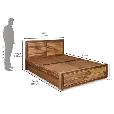 Rhody Queen Bed With Storage (Walnut)