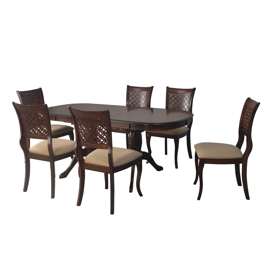 Richard Six Seater Dining Set (Dark Walnut)