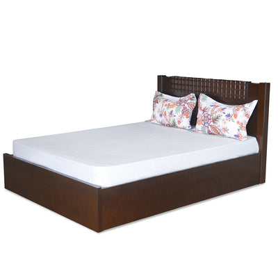 Rivera King Bed With Storage (Dark Walnut)
