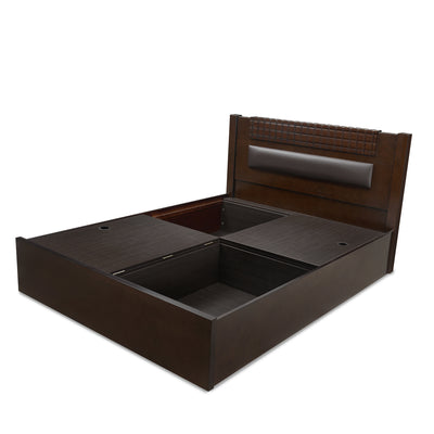 Rivera Queen Bed With Storage (Dark Walnut)