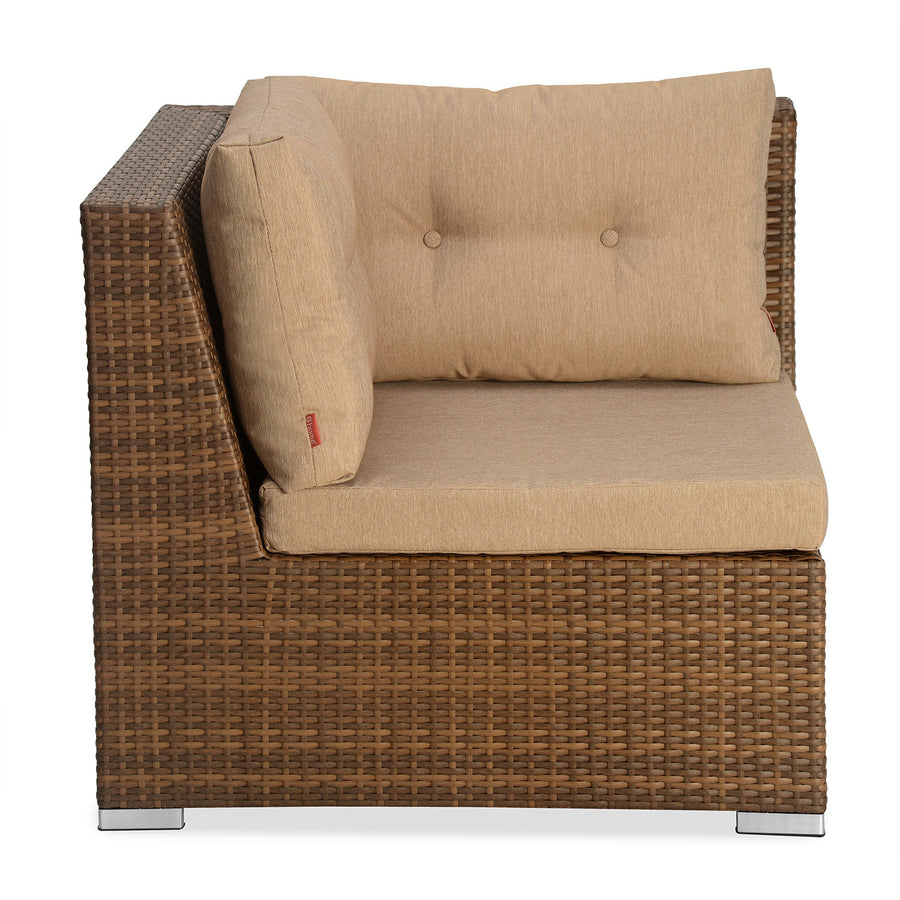Rover 1 Seater Garden Corner Sofa (Tan Brown)
