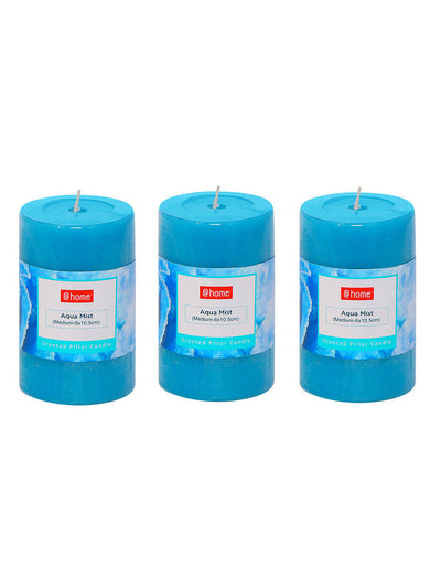 Aqua Mist Medium 3 Pieces Rustic Pillar Candle (Sea Green)