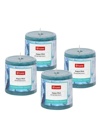 Aqua Mist Small Rustic Pillar Candle Set of 2 (Sea Green)