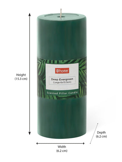 Evergreen Deep Large Rustic Pillar Candle Set (Green)