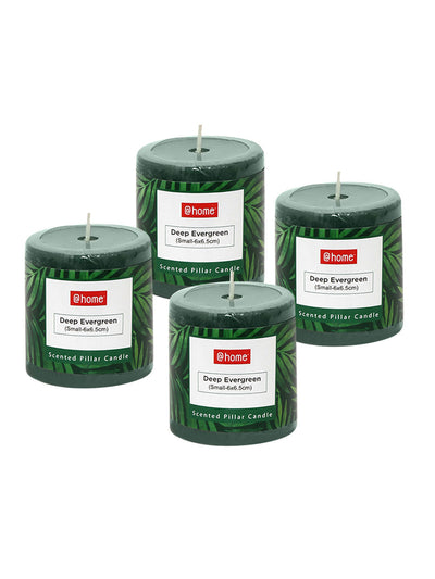 Evergreen Deep Small Rustic Pillar Candle Set of 2 (Green)