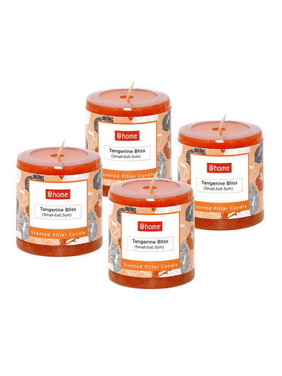Tang Bliss Small Rustic Pillar Candles Set of 2 (Orange)