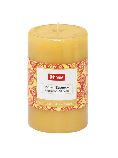 Indian Essence Medium Rustic 3 Pieces Pillar Candles (Yellow)