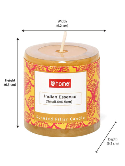 Indian Essence Small Rustic Pillar Candles Set of 2 (Yellow)