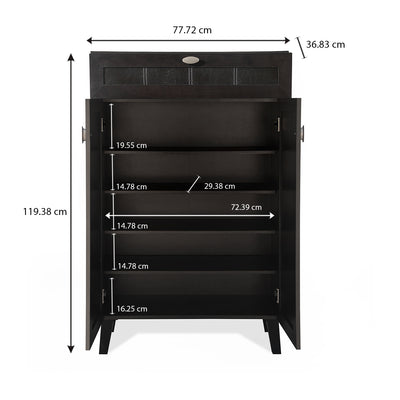 Ruth Small Shoe Cabinet with Drawer (Cappucino)