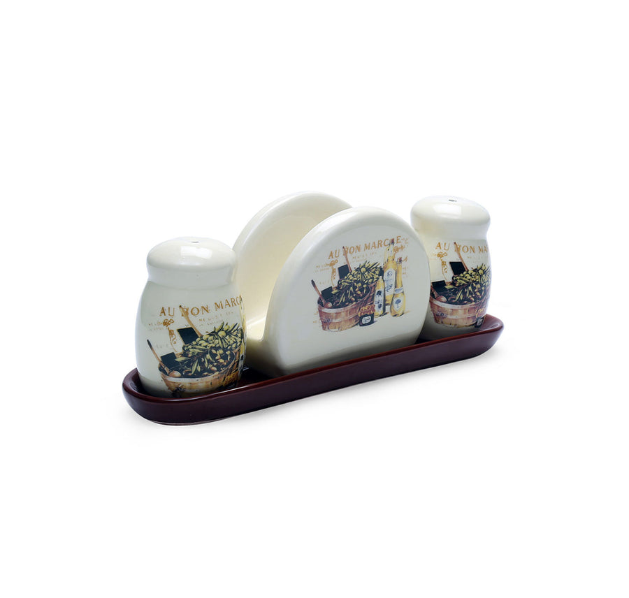 Salt (Pepper & Napkin Holder With Tray (Brown)