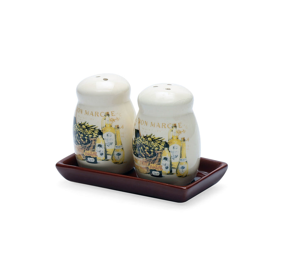 Salt & Pepper With Tray Ceramic (Brown)